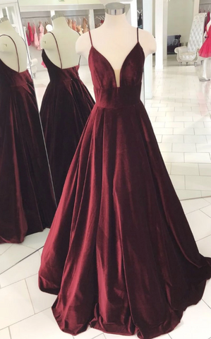 Simple v neck burgundy evening dress, burgundy long prom dress,AE279