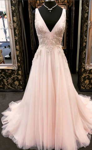 Unique v neck tulle lace applique long prom dress, pink evening dress,AE281