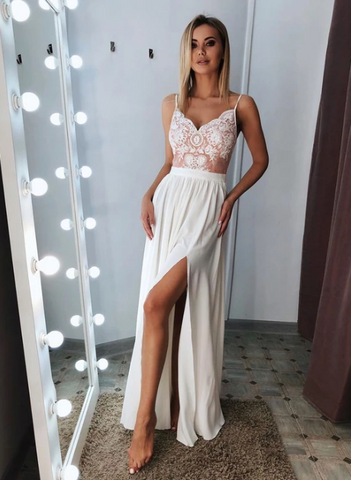 White v neck lace long prom dress, white evening dress Regular price,AE355