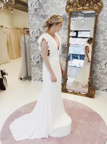 Mermaid V-Neck Cap Sleeves Backless Wedding Dress with Ruffles ,AE379