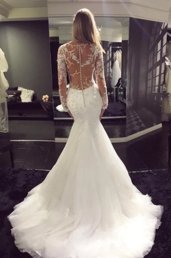 Mermaid Tulle Scoop Neck Sweep Train Lace Wedding Dresses with Appliques,AE381