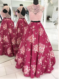 Two Pieces Prom Dresses Scoop Lace Print Long Prom Dress Evening Dresses,AE438