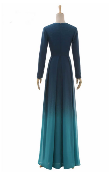 A Line Floor Length Black to Green Deep V Neck Long Sleeve Prom Dress,Bridesmaid Dress,AE465