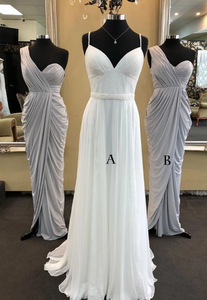 Simple chiffon long prom dress, white chiffon bridesmaid dress,AE472