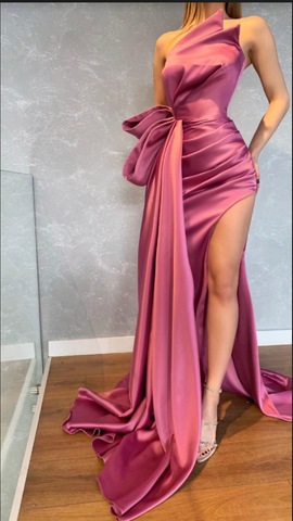 Sexy sleeveless satin Prom Dresses with split,DR2741
