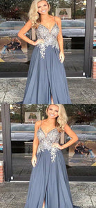 A-Line V-Neck Spaghetti Straps Chiffon Beaded Long Prom Dresses, Y0005