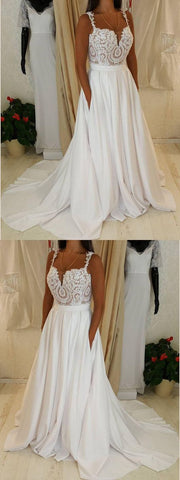 Simple Wedding Dresses with Straps Appliques Aline Romantic Beautiful Bridal Gown , Y0014