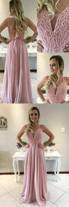 A-Line V-Neck Sweep Train Criss-Cross Straps Pink Chiffon Prom Dress with Beading ,Y0020