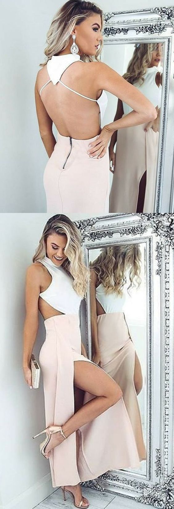 pink prom party dresses, long backless evening gowns, chic formal dresses. ,Y0022