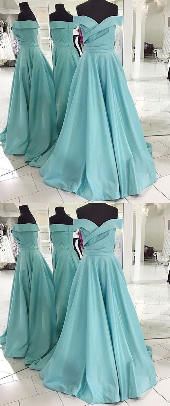 A-line Off the Shoulder Sweep Train Blue Satin Prom Dress with Pleats , Y0023