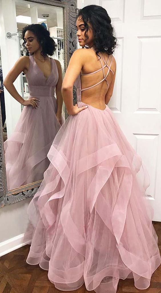 Pink Ruffled Tulle Long Prom/Evening Dress with Criss Cross Back, Y0032