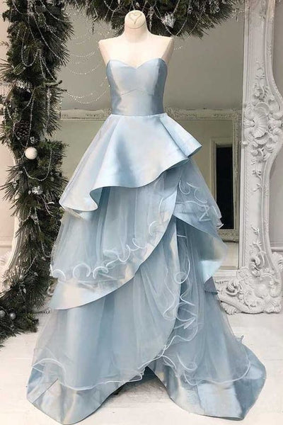 Strapless Light Blue Long Prom Dresses Multi-Layered Ruffle Prom Dresses , Y0033