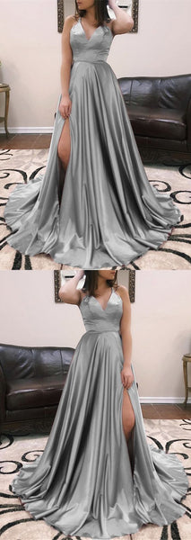 Long Sexy V-neck Cross Back Satin Prom Dresses 2019, Y0038