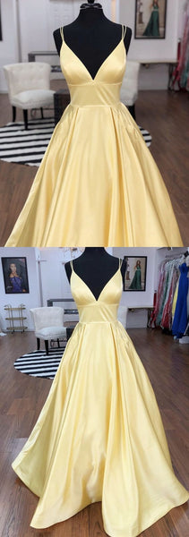 Sexy Straps V-neck Satin Long Prom Dresses 2019 With Pocket, Y0039