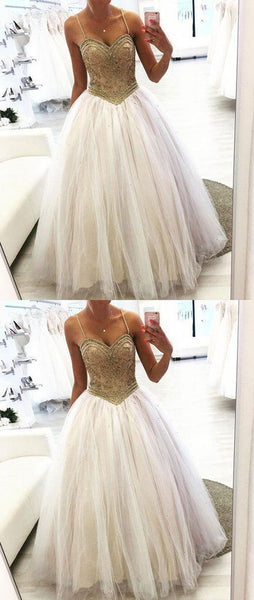 Unique sweetheart neck tulle beads long prom dress, tulle formal dress, Y0044