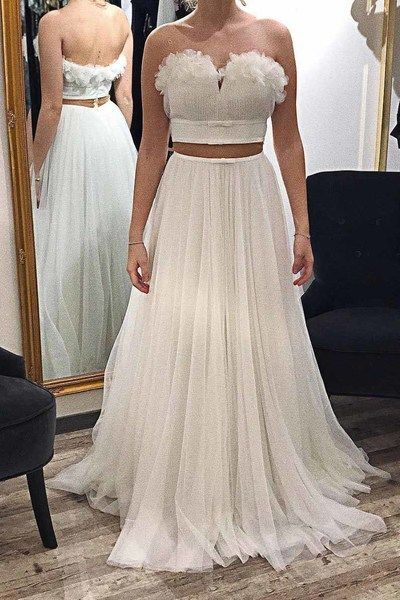 White Tulle Sweetheart Long Prom Dress, Two Pieces Homecoming Dress, Y0047