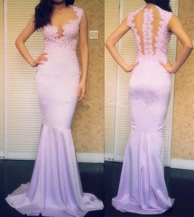 Charming Handmade Lavender Long Prom Dresses With Applique,Lace Prom Dresses, Y0055