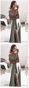 Elegant off shoulder formal evening dresses, chic split prom gowns for special occasion, Y0056
