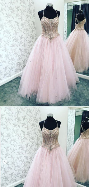 A-line Straps Beaded Pink Tulle Long Evening Prom Dresses, Y0060