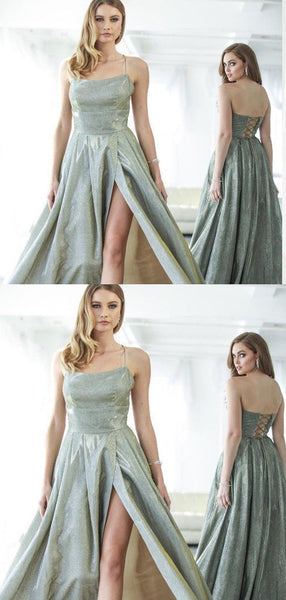 A-line Spaghetti Straps Green Satin Long Prom Dresses,Cheap Prom Dresses, Y0062