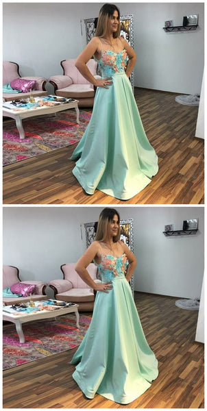 A-Line Spaghetti Straps Sweep Train Mint Prom Dress, Y0074