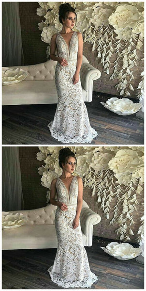 Mermaid Deep V-Neck Sleeveless Sweep Train White Lace, Y0080