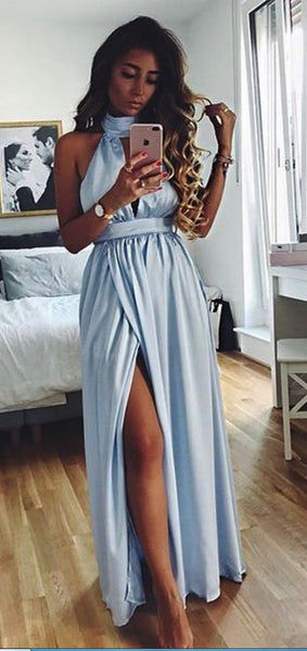 Light Blue High Collar Neck Long Prom Dress With Side Slit, Y0088