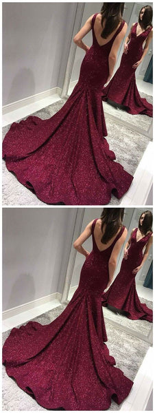 Sexy Backless Maroon Sequin Mermaid Side Slit Long Evening Prom Dresses, Sparkly Sweet 16 Dresses, Y0091