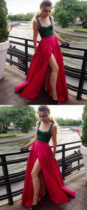 Two Pieces A-Line Prom Dresses,Long Prom Dresses,Green Prom Dresses, Evening Dress Prom Gowns, Formal Women Dress,Prom Dress, Y0120