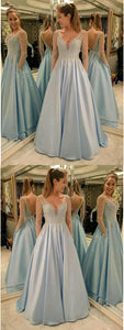 Sexy V-Neck Aline Light Blue Prom Dresses,Long Prom Dresses,Cheap Prom Dresses, Evening Dress Prom Gowns, Formal Women Dress,Prom Dress, Y0133