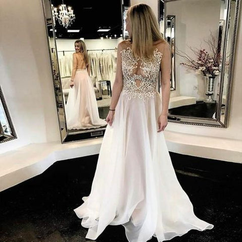 Chiffon Lace Simple Beach Cheap Open Back Beautiful Wedding Dresses,Y0136