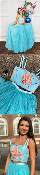 elegant light blue lace prom dress with floral, fashion two piece printed party dress,Y0142