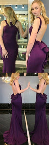 Memraid Crew Sweep Train Grape Satin Backless Sleeveless Prom Dress with Ruffles, Y0143