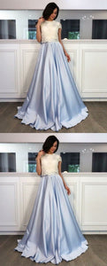 A-Line Round Neck Short Sleeves Sweep Train Light Sky Blue Satin Prom Dress with Lace, Y0153