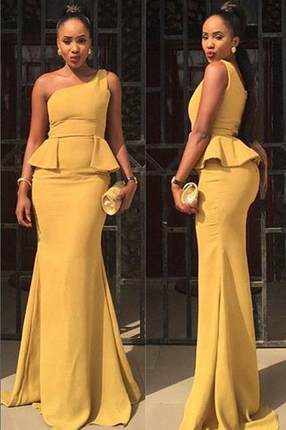 Elegant African Mermaid One Shoulder Long Yellow Prom/Evening Dress, Y0159