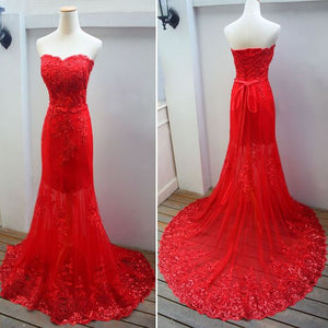 Beautiful Red Lace Sweetheart Mermaid Wedding Party Dress, Beautiful Red Formal Gown 2019,Y0160