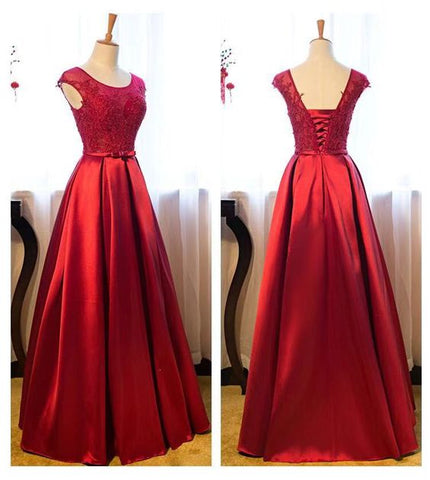 Red Satin And Lace Long Formal Gown, Elegant Red Prom Dresses 2019, Party Dresses, Y0161