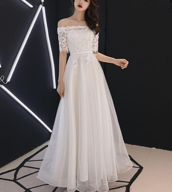 White Off Shoulder Lace Top Long Graduation Party Dress, Beautiful Formal Dresses 2019,Y0162