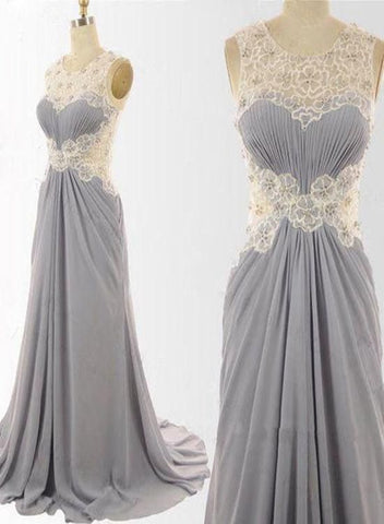 Grey Lace And Chiffon Long Wedding Party Dress, Grey Floor Length Prom Dresses, Y0163