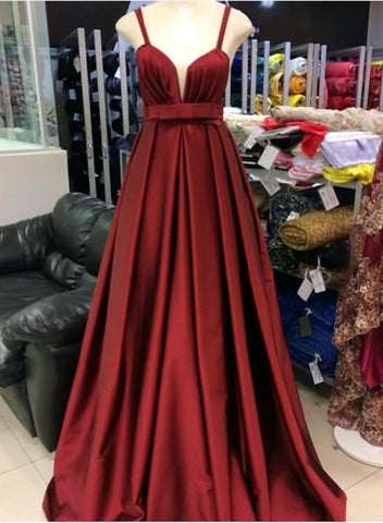 Wine Red Straps Satin Elegant Party Dress, Long Prom Dress 2019, Formal Gowns,Y0164