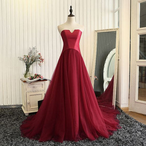 Red Satin And Tulle Unique Long Formal Gowns, Wine Red Prom Dress 2019, Y0165
