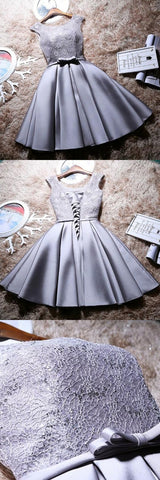 Grey Lace And Satin Homecoming Dress With Sash, Lovely Party Dress, Formal Dress,Y0166