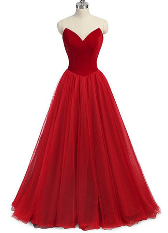 Red Gorgeous V-neckline Velvet Top Long Formal Gowns, Red Prom Dress, Beautiful Party Gowns,Y0167