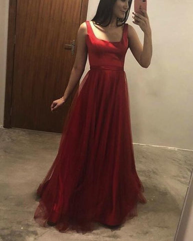 Red Stylish Tulle Floor Length Formal Dress, V Back Sexy Long Party Dress, Red Prom Dress, Y0168