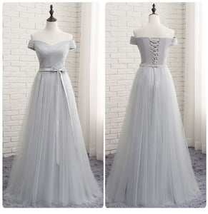 Grey Off Shoulder Tulle Long Prom Dress 2019, Party Dress 2019, Formal Dress 2019,Y0169