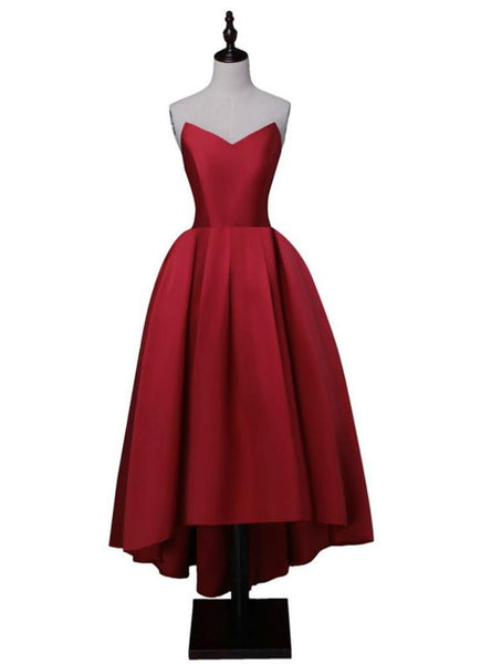 Wine Red Satin High Low Homecoming Dresses, Lace-Up Back Sweetheart Neck Prom Dress  , Y0172