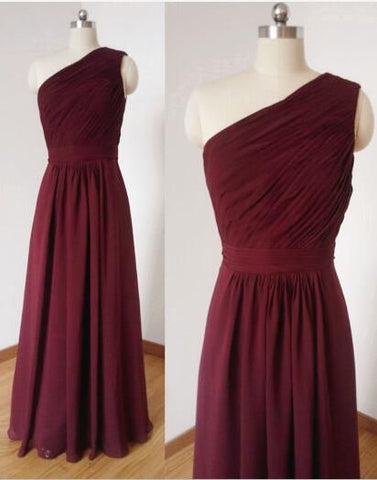 Wine Red Bridesmaid Dresses 2018, One Shoulder Bridesmaid Dress, Formal Dress,Y0177