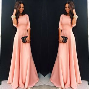 Slim Pure Color 3/4 Sleeves Pleated Long Maxi Dress,Y0190