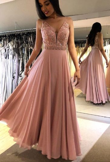 2019 V-Neck Beaded Prom Dress,Prom Dresses,Prom Dress with Beaded,Y0194