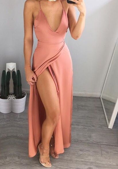 Floor Length Sexy Long Evening Dress, Sexy Split Side Prom Dresses, Deep V Neck Party Dress,Evening Gowns,Y0201